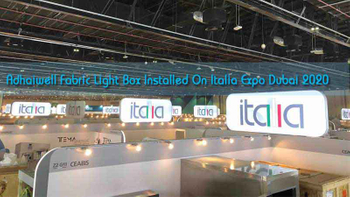 Adhaiwell Fabric Light Box Installed On Italia Exhibition Dubai 2020