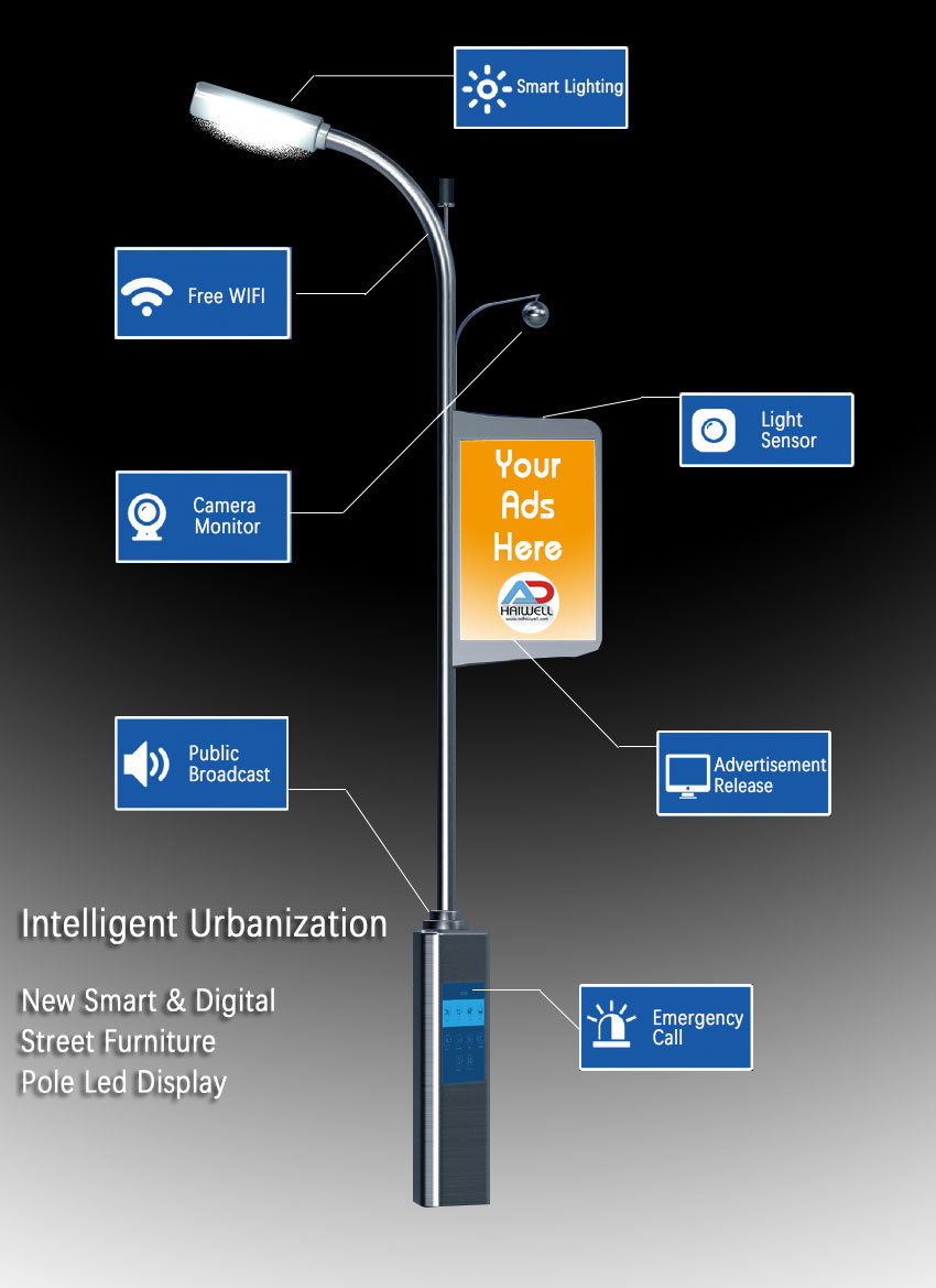 City Smart Street Pole Lamppost led display