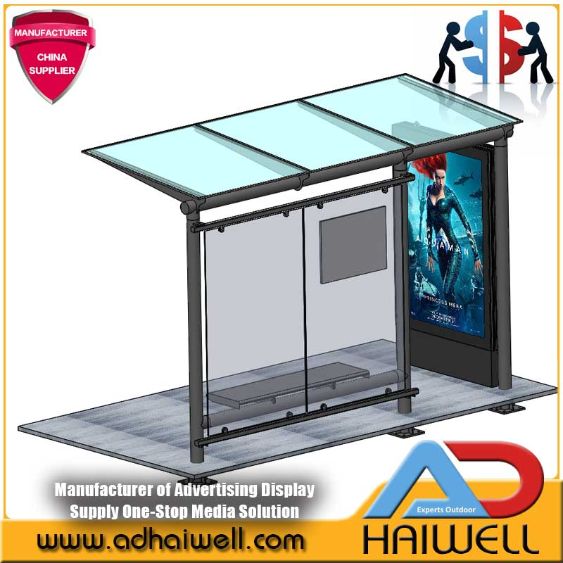 City Outdoor Bus Stop Shelter Advertising Street Display Light Box
